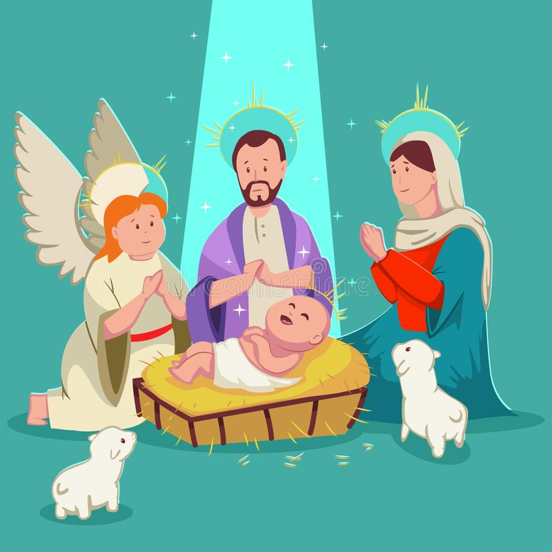 Baby Jesus Christmas nativity scene, angel cartoon vector isolated stock photography
