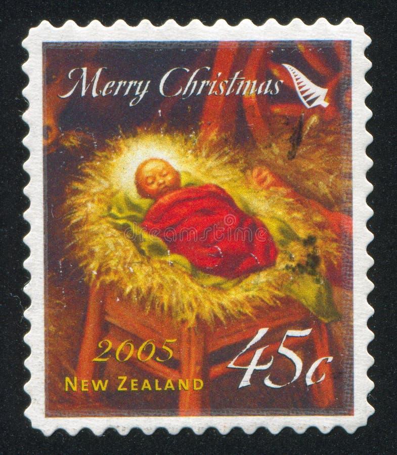 Baby Jesus in einer Krippe stockbild