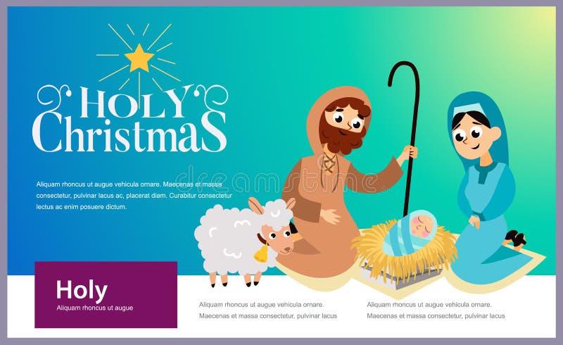 Baby Jesus geboren in Bethlehem scène in heilige familie royalty-vrije illustratie