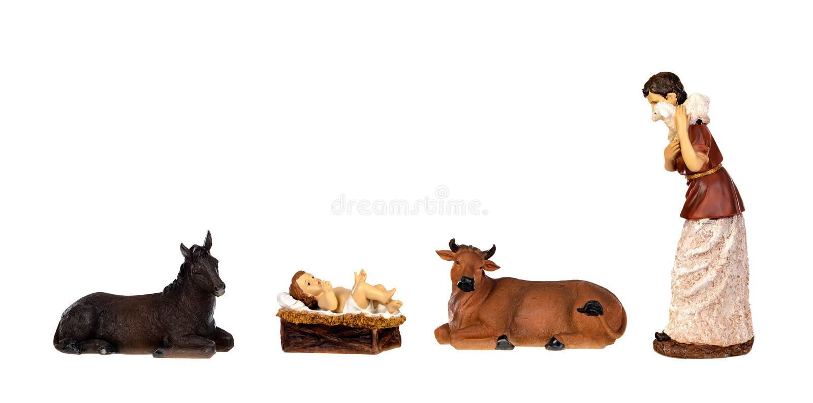 The Baby Jesus in the manger with the ox and the mule royalty free stock photography