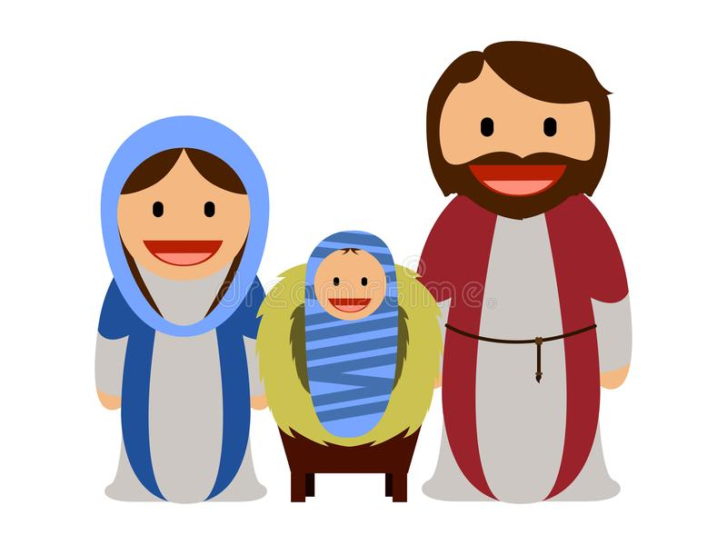 Baby Jesus with Mary and Joseph vector illustration