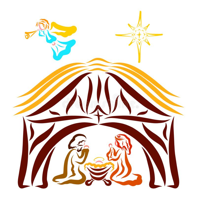 Baby Jesus in a stable with Mary and Joseph, trumpeting angel and star.  royalty free illustration