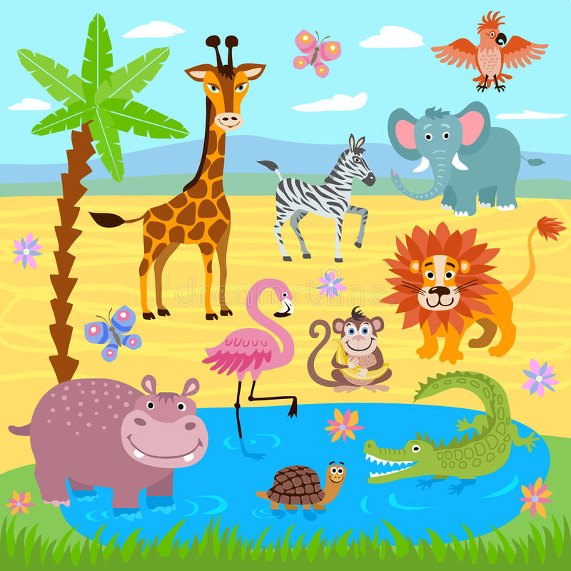 Baby jungle and safari zoo animals vector nature background royalty free illustration