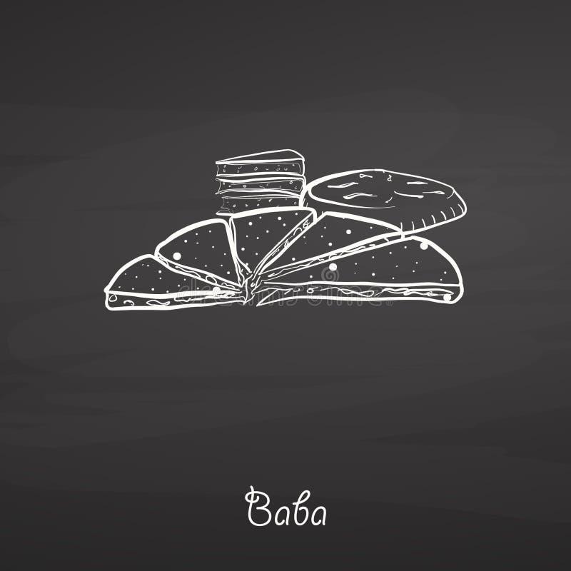 Baby karmowy nakreślenie na chalkboard royalty ilustracja