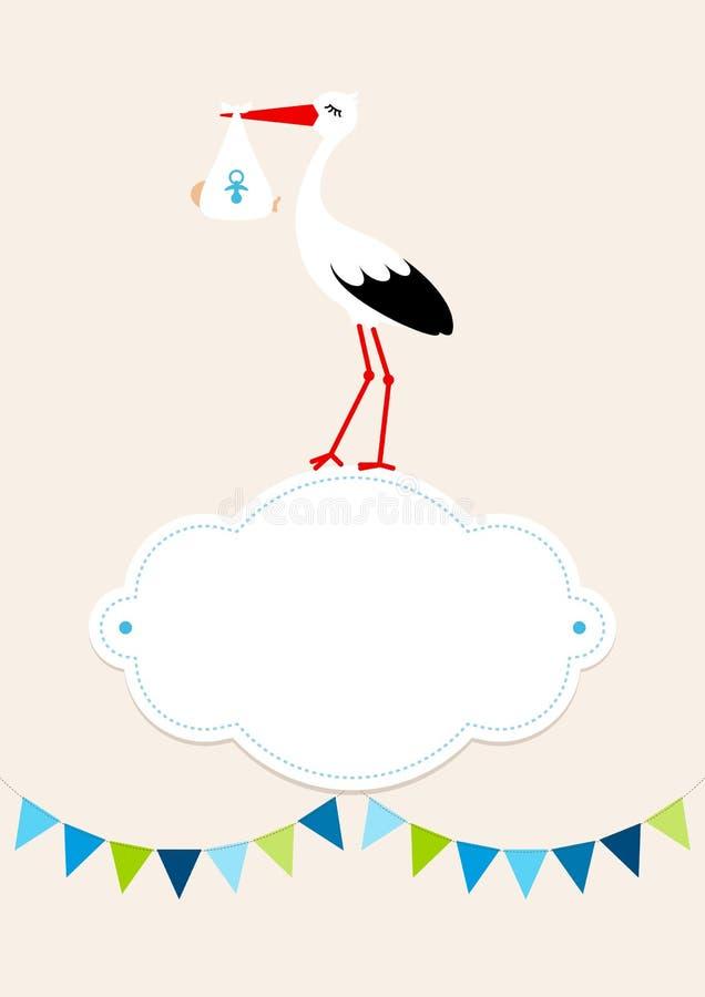 Baby-Karten-Jungen-Storch auf Wolken-Wimpel Dots Background Beige lizenzfreie abbildung