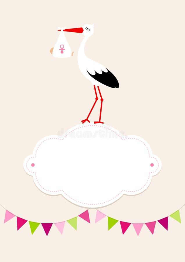 Baby-Karten-Mädchen-Storch auf Wolken-Wimpel Dots Background Beige vektor abbildung