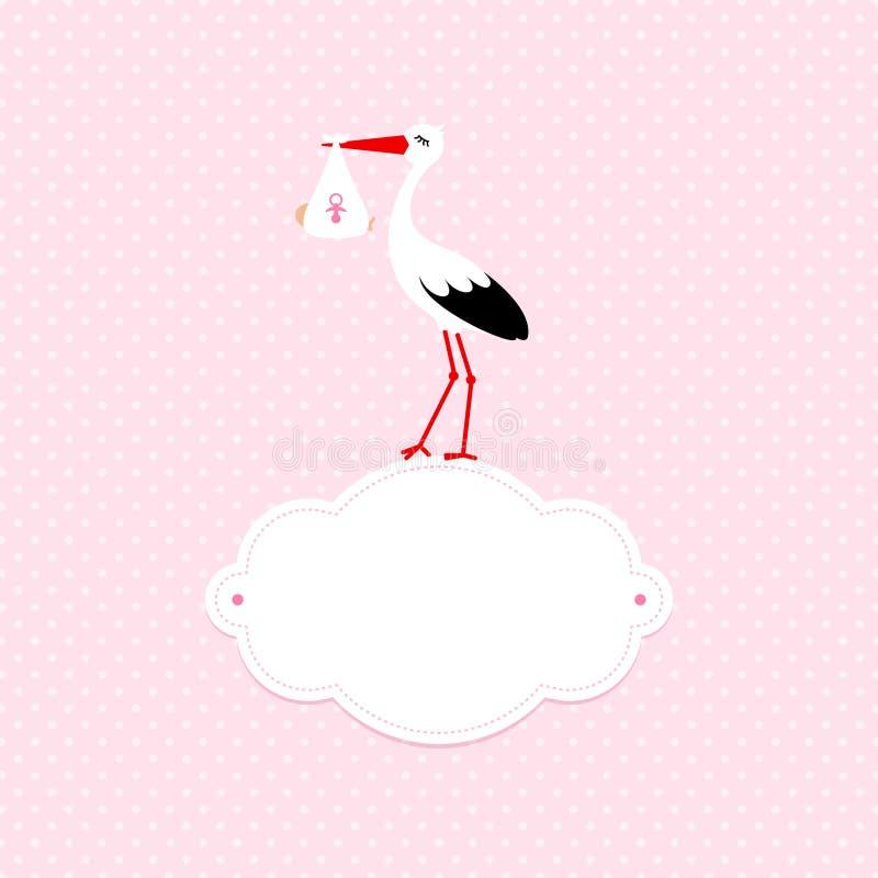 Baby-Karten-Mädchen und Storch auf Wolke Dots Background Pink vektor abbildung