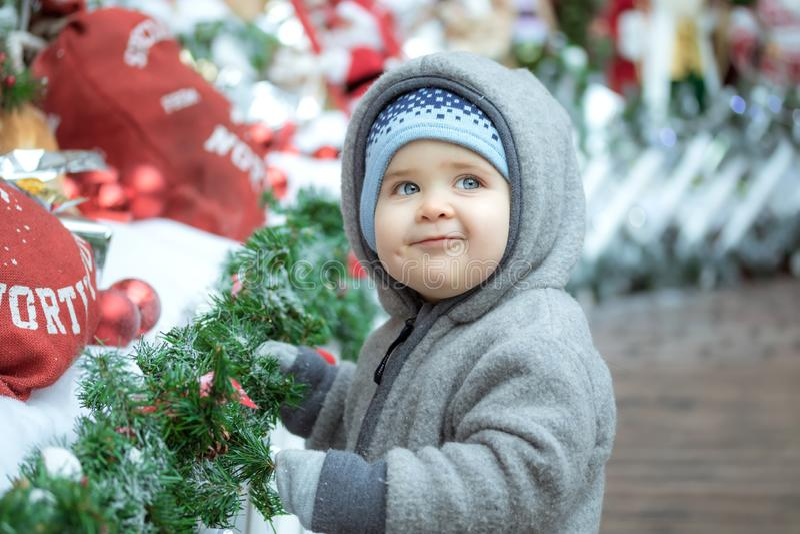 Baby in Kerstmis royalty-vrije stock foto