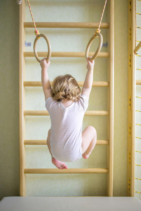 Baby kid playing sports royalty free stock photo