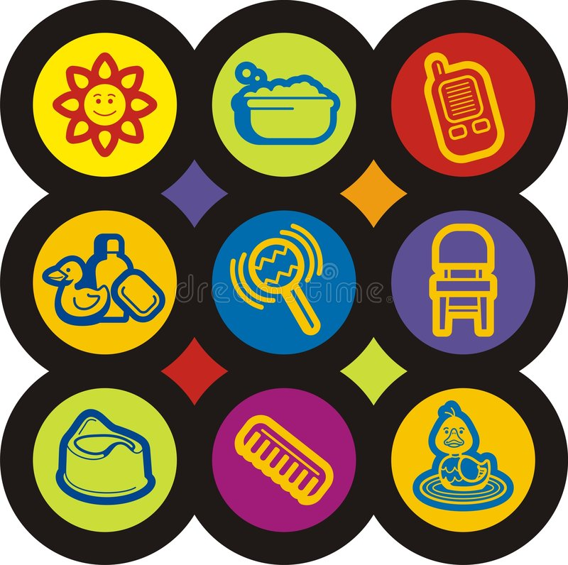 Download Baby and Kids' Icon Series stock vector. Image of little - 1956070