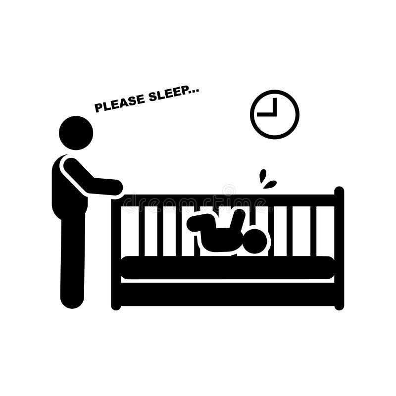 Baby, kinderverzorging, ouderschap, slaappictogram Element van ouderpictogram Grafisch het ontwerppictogram van de premiekwalitei stock illustratie