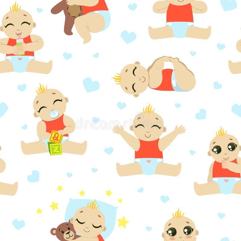 Baby-Kleinkind-Charakter-nahtloses Muster, das nette Kind in der Windel, die, schlafend, essend spielt, Gestaltungselement kann f vektor abbildung