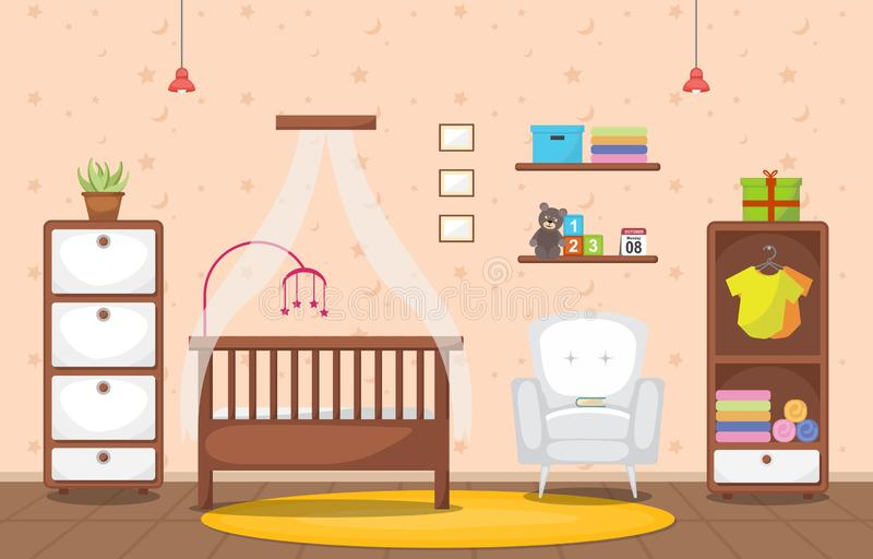 Baby-Kleinkind-Kinderschlafzimmer-Innenraum-Möbel-flacher Entwurf vektor abbildung
