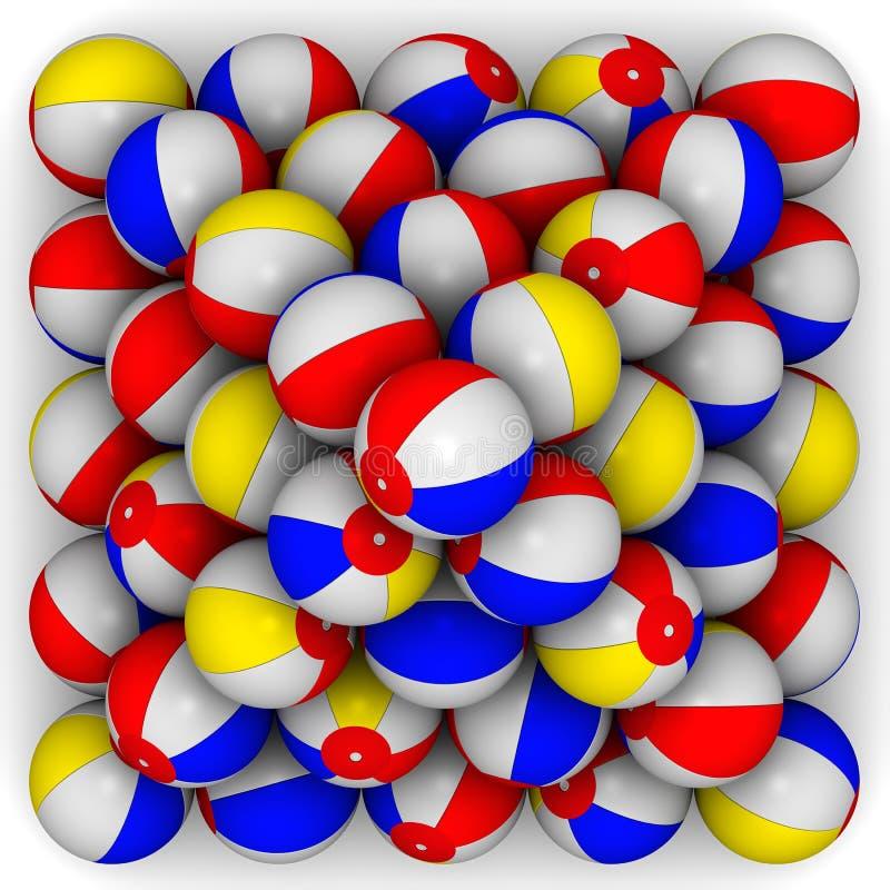 Baby kleurrijke die ballen in vorm van piramide worden opgestapeld stock illustratie