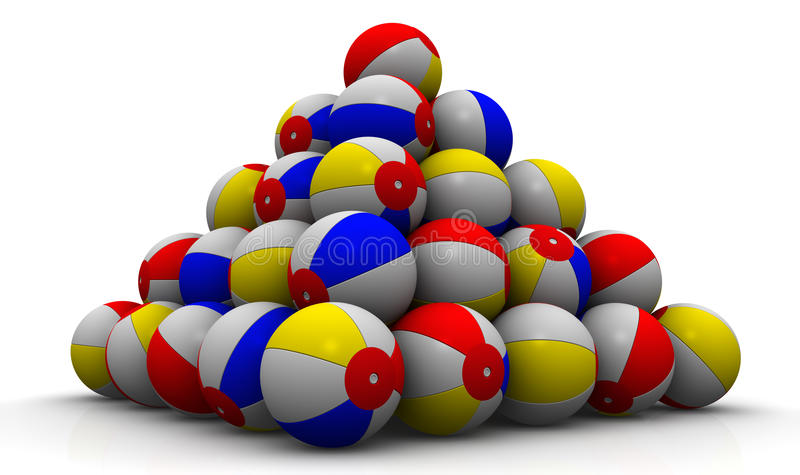 Baby kleurrijke die ballen in vorm van piramide worden opgestapeld vector illustratie