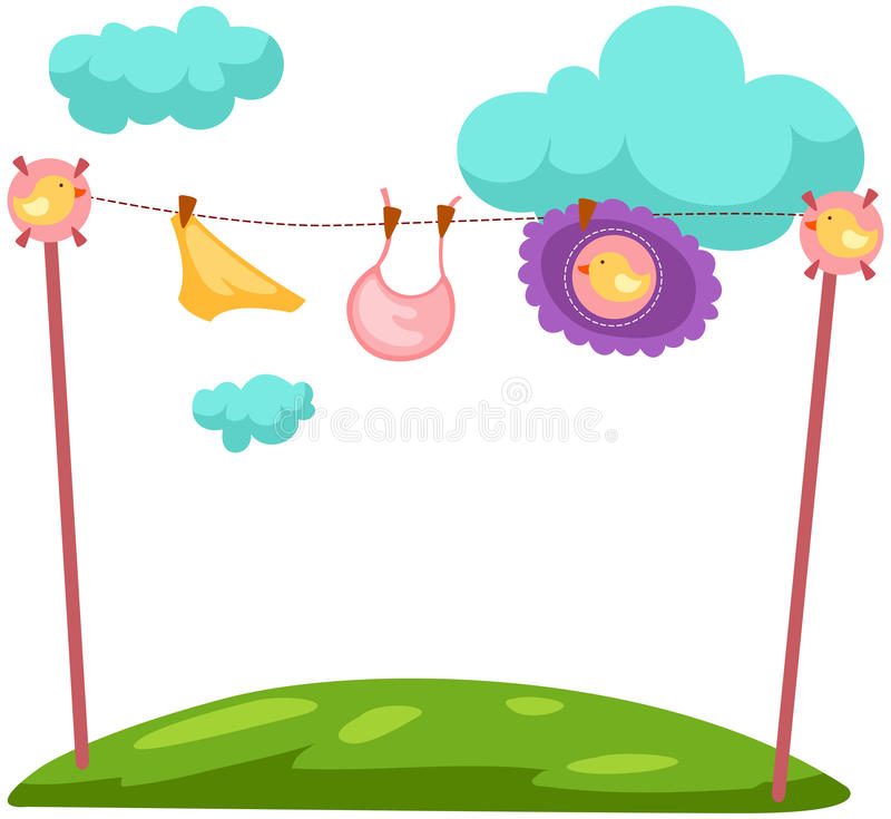 Baby laundry. Illustration of isolated baby clothes on a clothesline royalty free illustration
