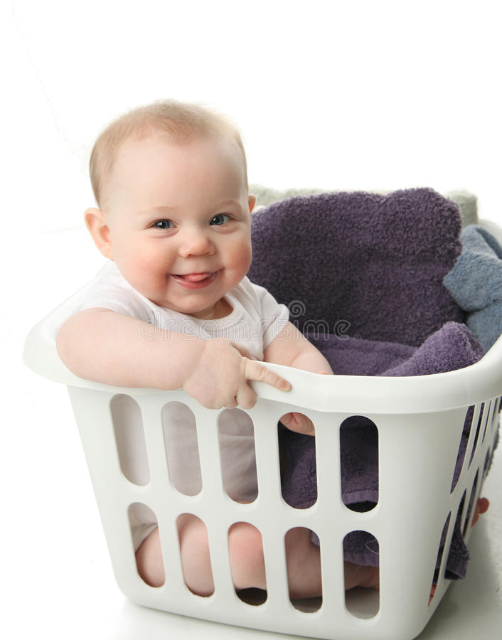 Download Baby in a laundry basket stock photo. Image of background - 19043648