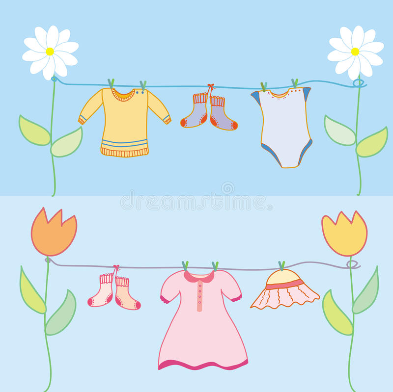 Baby laundry for boy and girl royalty free illustration