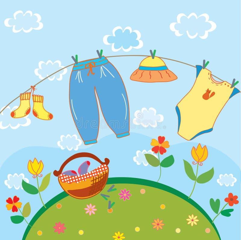 Baby laundry card for a boy. Cartoon royalty free illustration