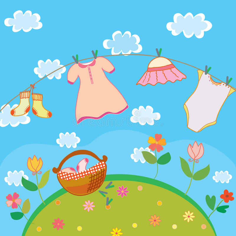 Baby laundry card for girl. In summer vector illustration