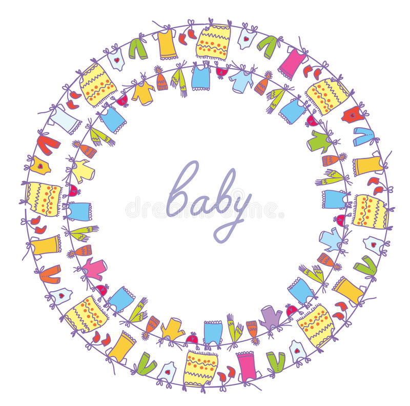 Baby laundry cute frame round. Motive vector illustration