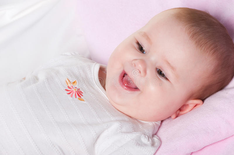 Download The baby lays stock image. Image of babies, laughing - 17749869