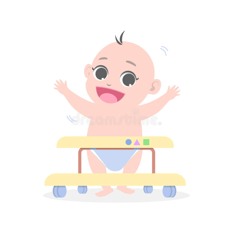 Baby learns to walk by means of Baby walker royalty free illustration