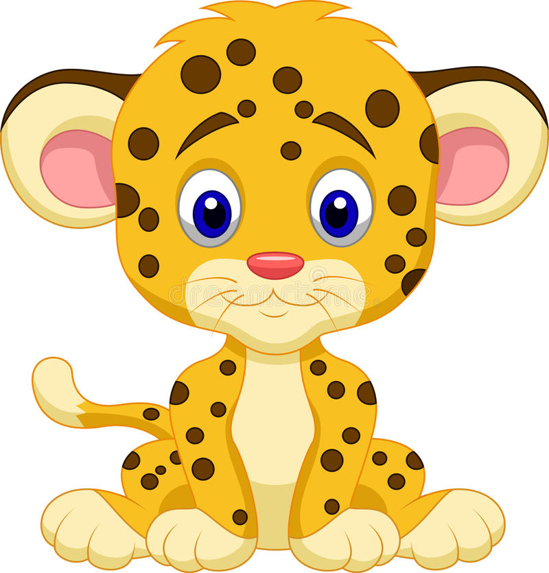 Baby leopard cartoon royalty free illustration