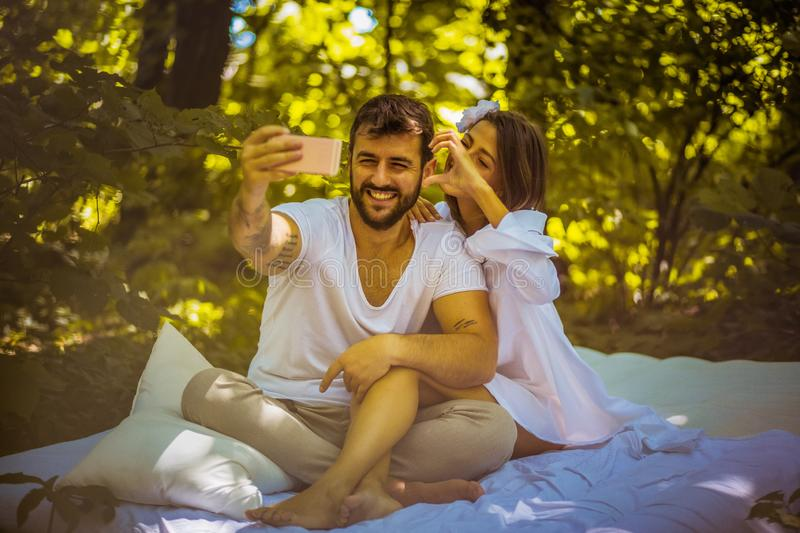 Baby lets take a selfie. Those are memories. stock photo