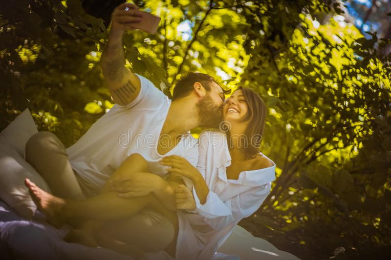 Baby lets take a selfie. Those are memories. royalty free stock photo