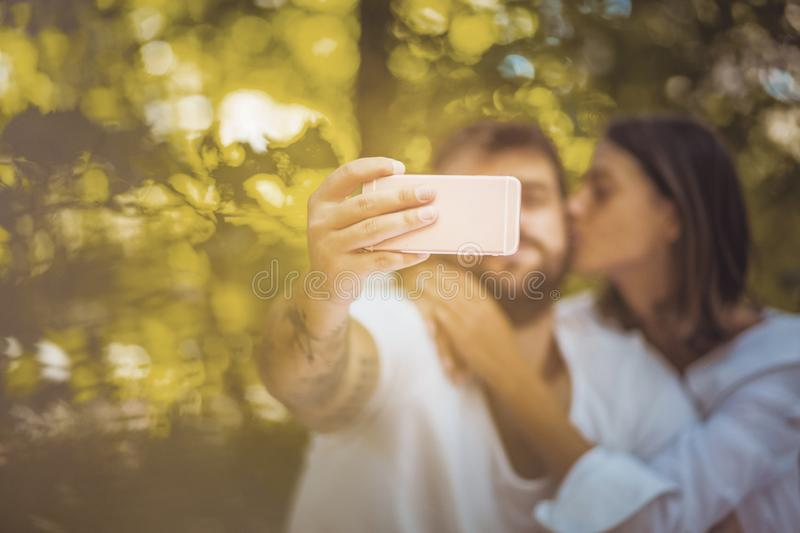 Baby lets take a selfie. Those are memories. stock photography