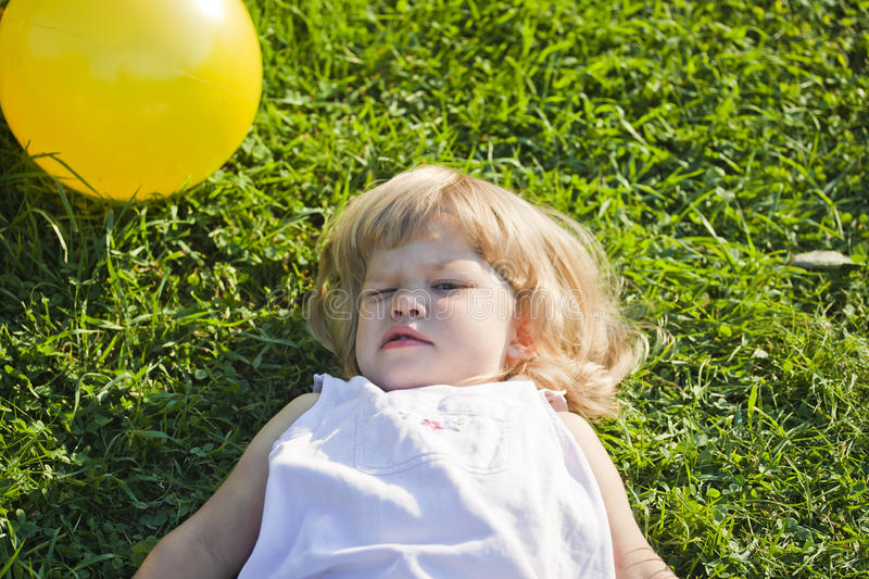 Download Baby lies on a grass stock image. Image of cheerfully - 39500149
