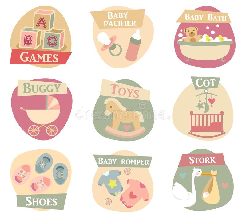 Baby life flat icons. Baby life vector icons set royalty free illustration