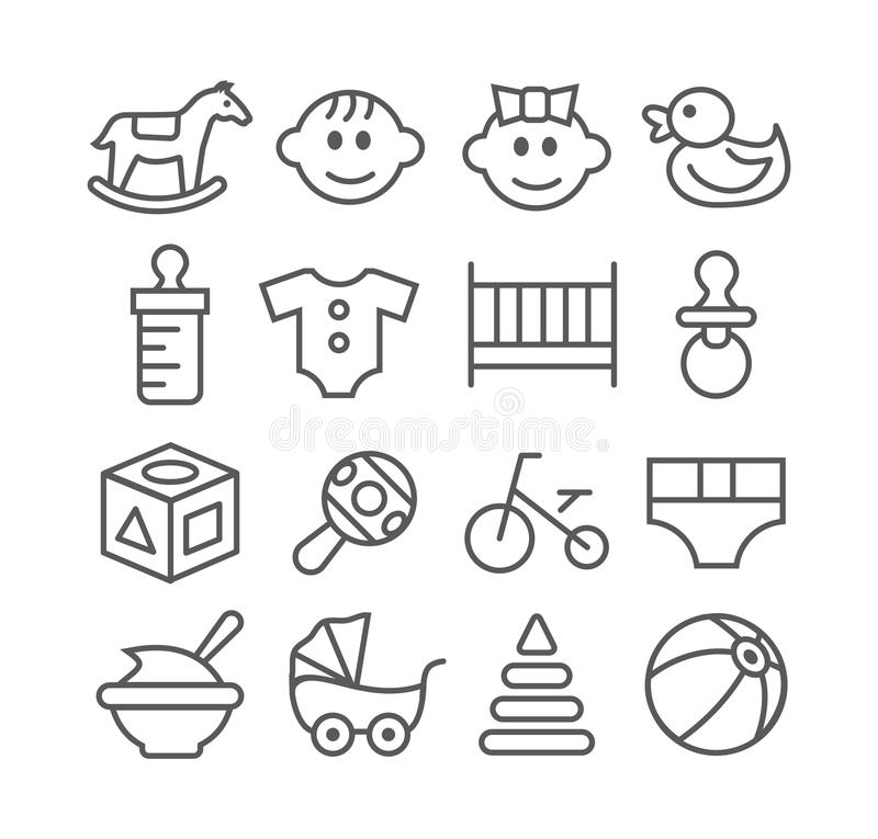 Baby line icons. Gray Baby line icons on white background royalty free illustration