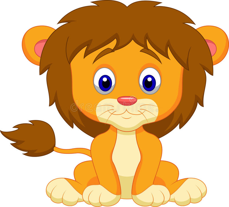 Baby lion cartoon sitting royalty free illustration