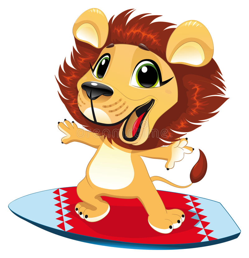 Baby lion with sur. F. Funny cartoon and sporty character