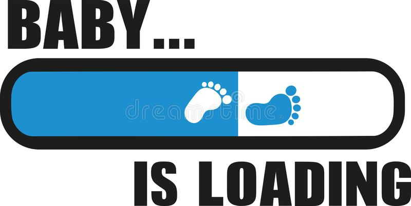 Baby is Loading with download bar royalty free illustration