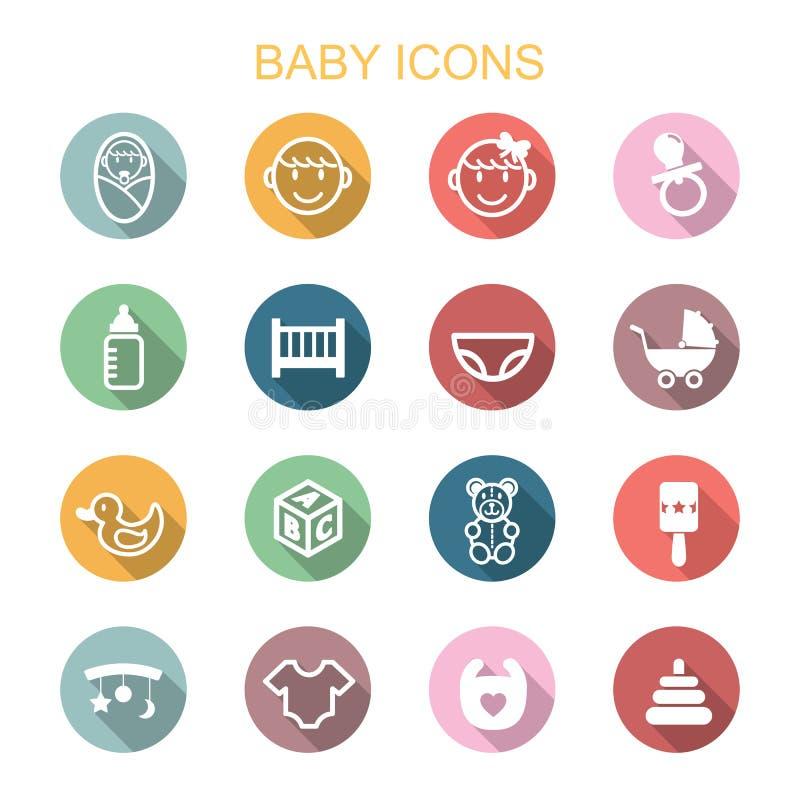 Baby long shadow icons. Flat vector symbols royalty free illustration