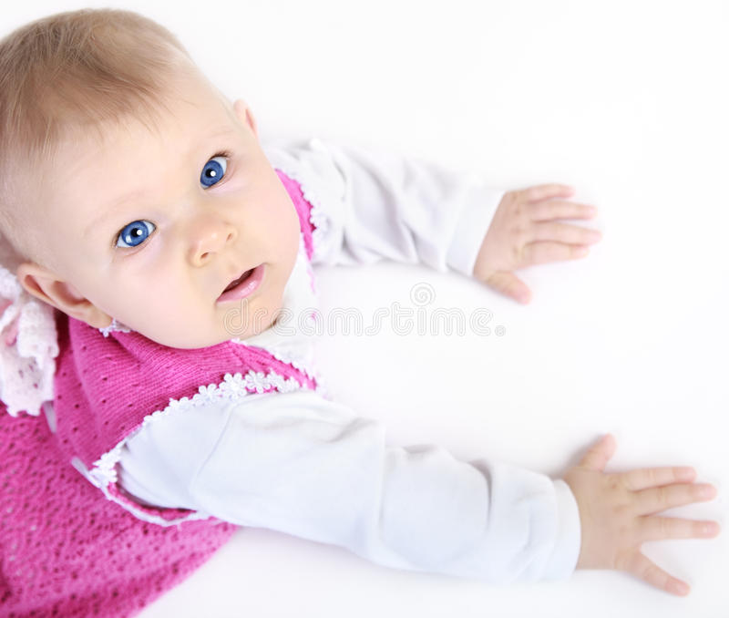 Download Baby looking up stock image. Image of portrait, girl - 28017913
