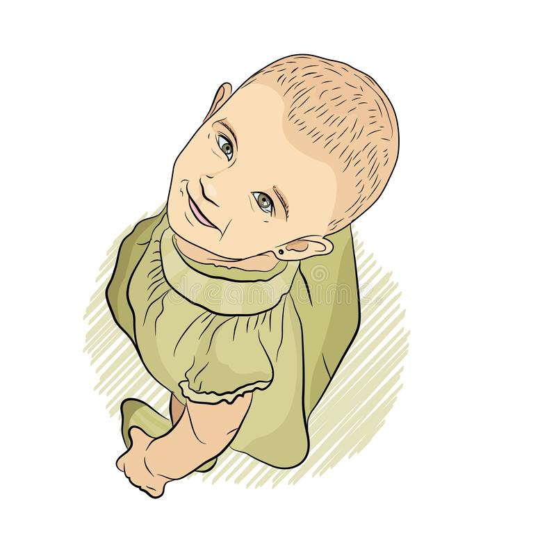 Baby looks up. sketching style. girl in a green. Dress. on a white background royalty free illustration