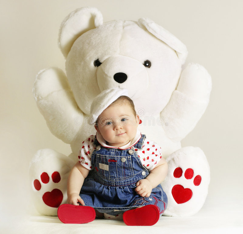 Baby Love. Bundle of love and heart teddy (5mths stock photography