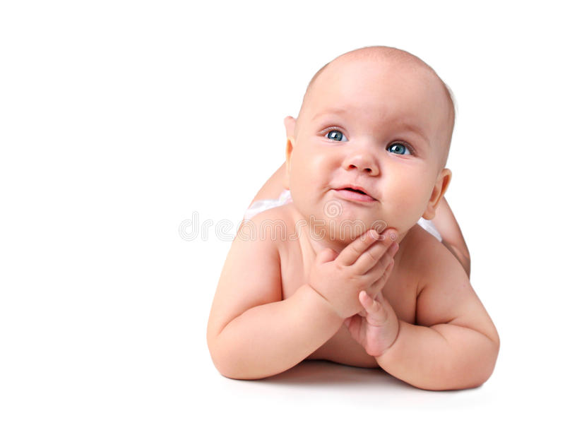 Baby lying isolated.Newborn on white background. royalty free stock images