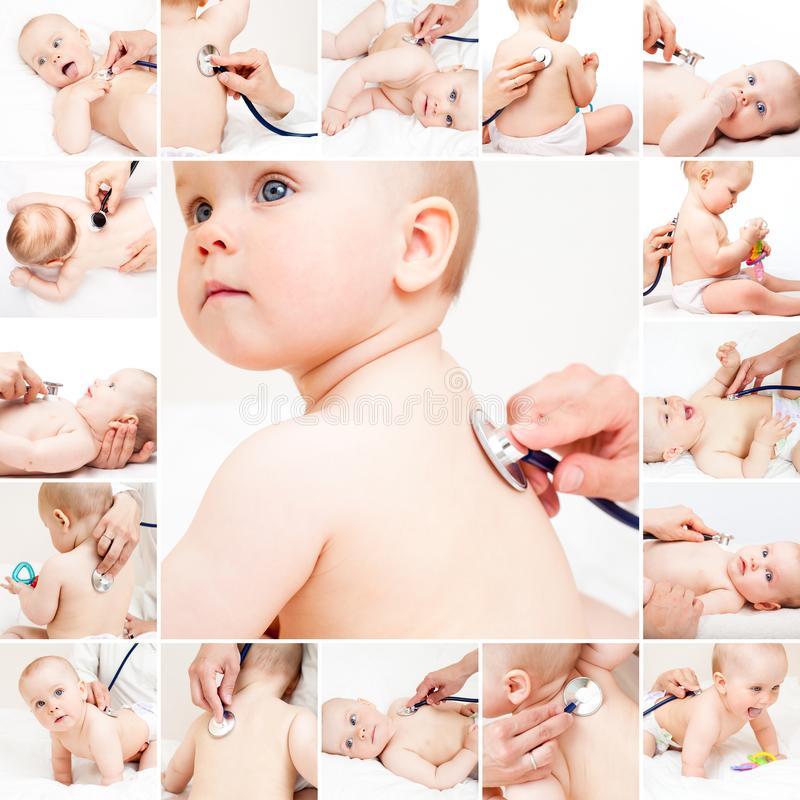 Baby medical exam - doctor checking heart beat and lungs with st stock image