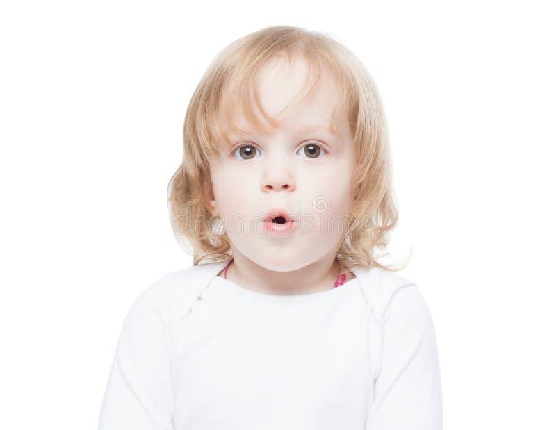 Baby, meisje met lang haar met een verrast gezicht, isolatie stock afbeeldingen