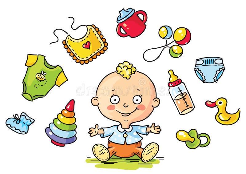 Baby met babydingen royalty-vrije illustratie