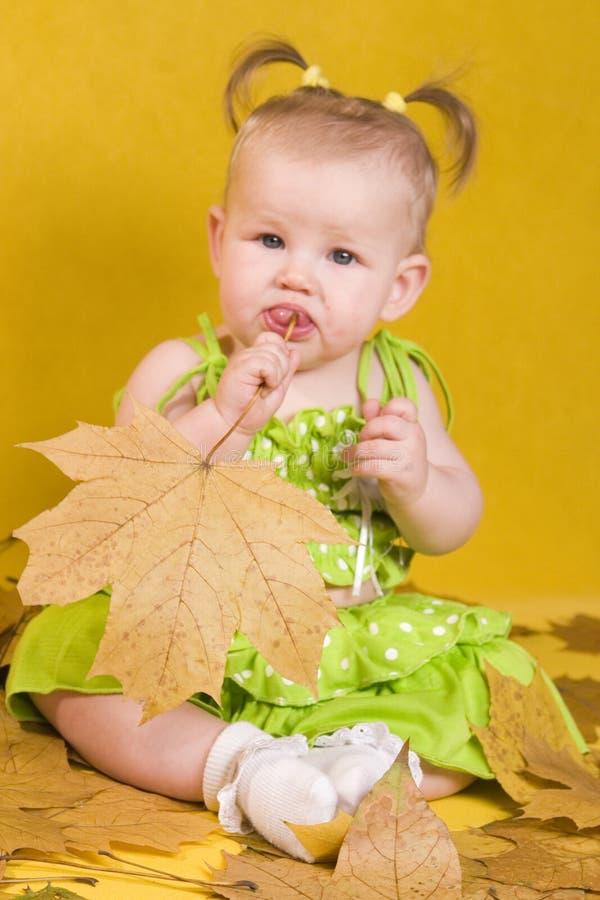 Baby met bladeren royalty-vrije stock foto