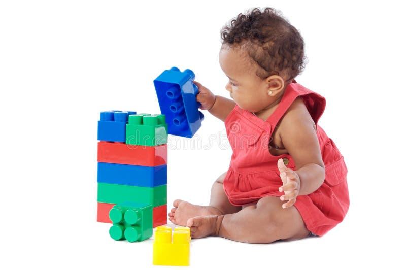 Baby met blokken royalty-vrije stock afbeeldingen