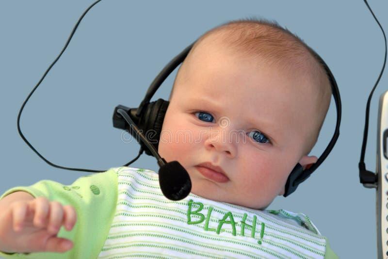 Baby met een hoofdtelefoon royalty-vrije stock fotografie