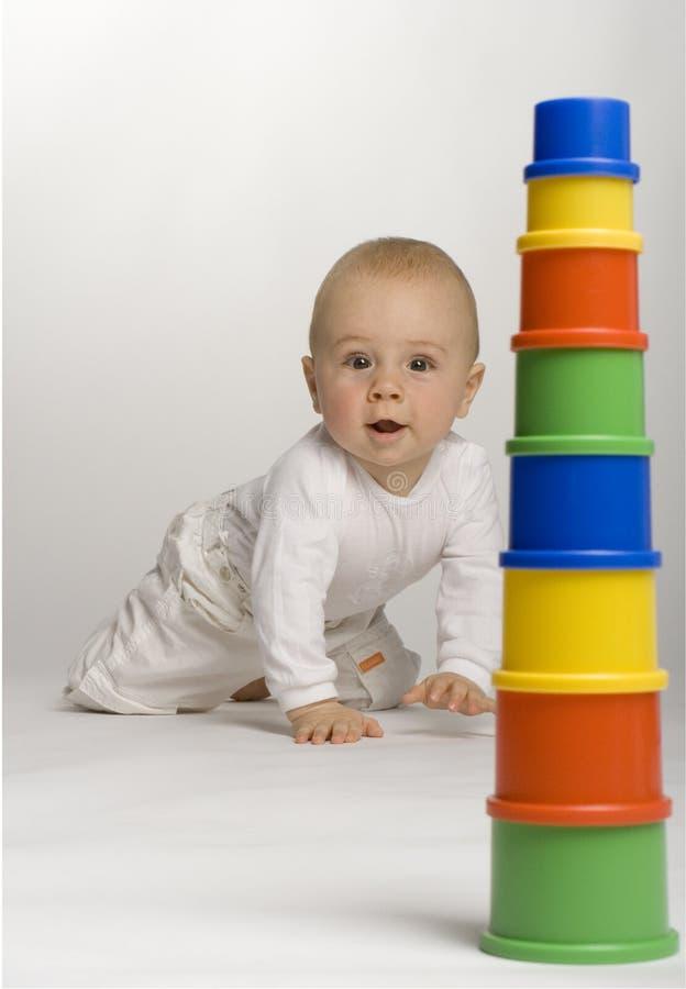 Baby met een Opdracht stock afbeelding