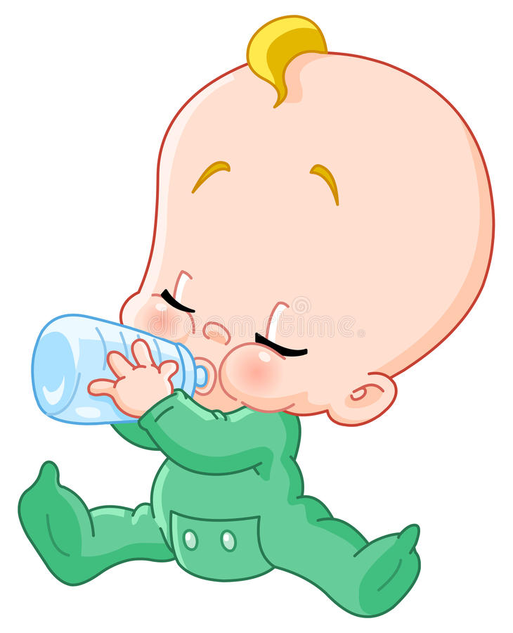 Baby met fles vector illustratie